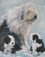 Нарисованный бобтейл с щенками